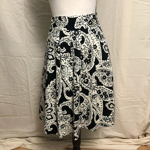 Merona Pleated A Line Skirt Paisley Fully Lined L6